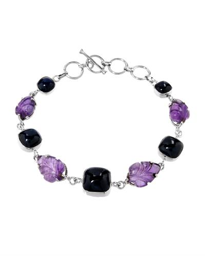 Brand New Bracelet with 40.2ctw of Precious Stones - amethyst and sapphire 925 Silver sterling silver