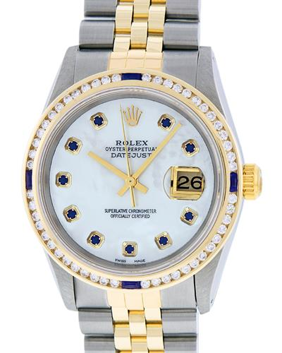 Rolex PreOwned Automatic date Watch with 1.5ctw of Precious Stones - diamond and sapphire
