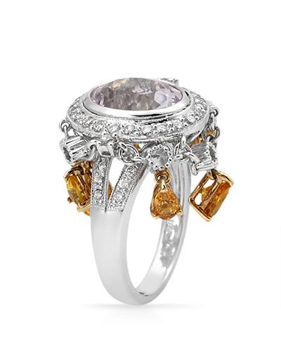 Brand New Ring with 6.54ctw of Precious Stones - diamond, kunzite, and sapphire 18K Two tone gold
