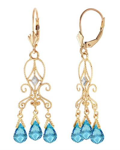 Magnolia Brand New Earring with 4.81ctw of Precious Stones - diamond and topaz 14K Yellow gold