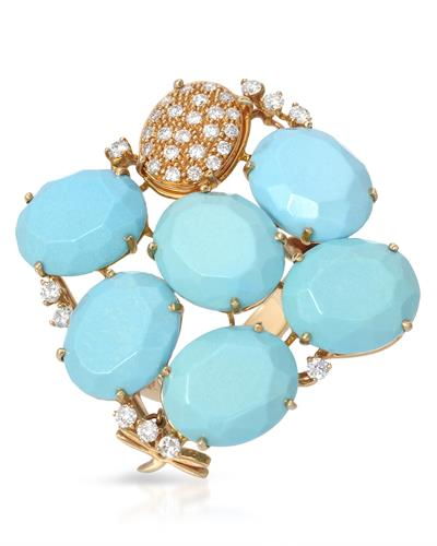 CASATO TAI MEE Brand New Ring with 19.62ctw of Precious Stones - diamond and turquoise 18K Yellow gold