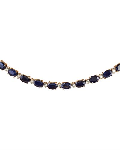 Brand New Necklace with 31.25ctw of Precious Stones - diamond and sapphire 14K White gold