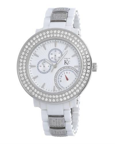 Techno Com by KC Brand New Japan Quartz day date Watch with 4.5ctw of Precious Stones - crystal and diamond