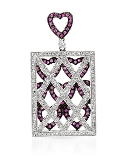 Brand New Pendant with 1.53ctw of Precious Stones - diamond and sapphire 18K White gold