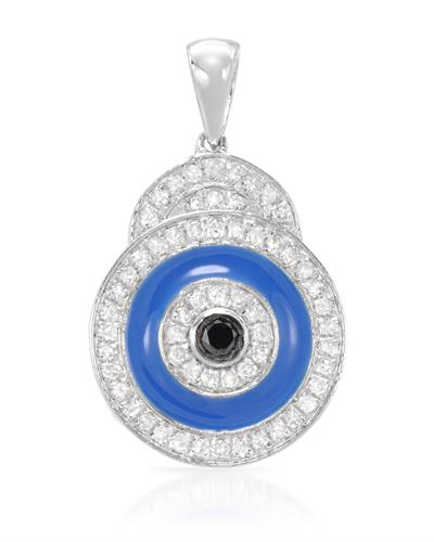 Lundstrom Brand New Pendant with 0.39ctw of Precious Stones - diamond and diamond  Blue Enamel and 925 H - I sterling silver