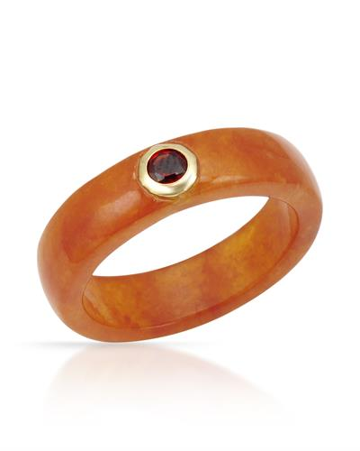Brand New Ring with 0.3ctw of Precious Stones - garnet and jade 14K Yellow gold