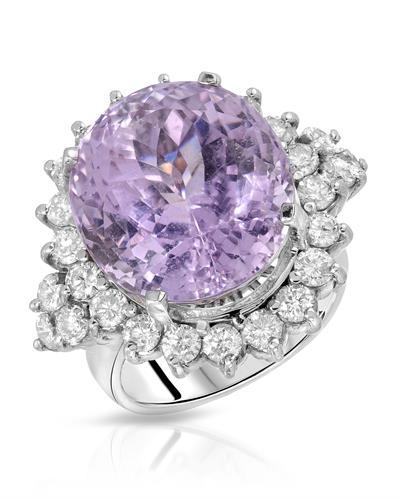 Brand New Ring with 25.58ctw of Precious Stones - diamond and kunzite 14K White gold