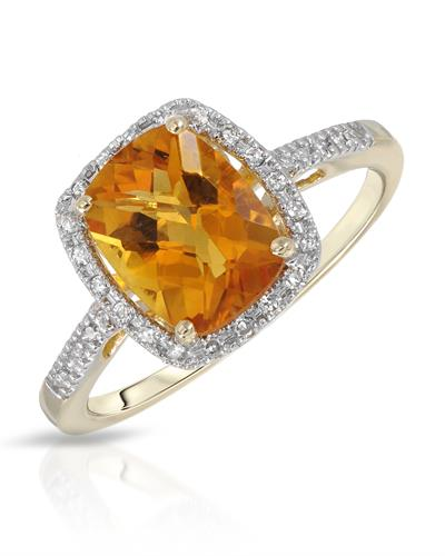 Magnolia Brand New Ring with 2.15ctw of Precious Stones - citrine and diamond 14K Yellow gold