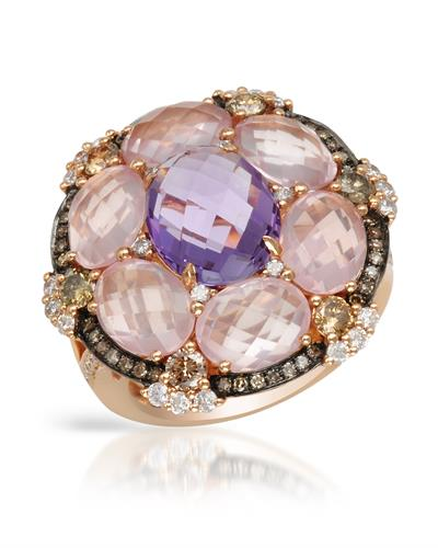 Brand New Ring with 11.2ctw of Precious Stones - amethyst, diamond, diamond, and quartz 18K Rose gold