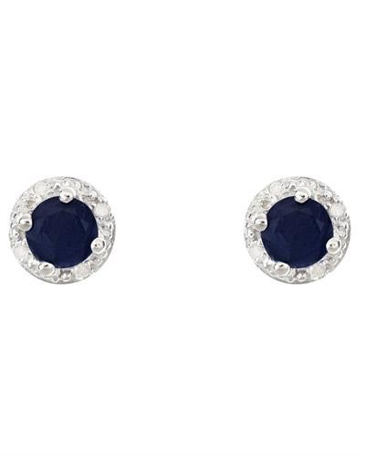 Brand New Earring with 1.42ctw of Precious Stones - diamond and sapphire 925 Silver sterling silver
