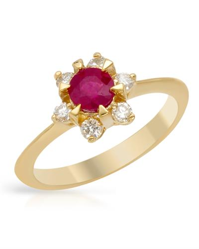 Brand New Ring with 1.05ctw of Precious Stones - diamond and ruby 14K Yellow gold