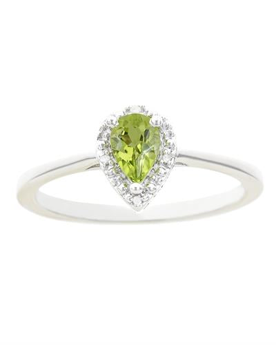 Brand New Ring with 0.46ctw of Precious Stones - diamond and peridot 925 Silver sterling silver