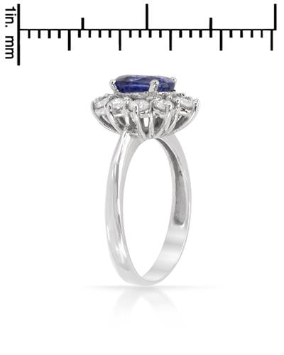 Brand New Ring with 3.05ctw of Precious Stones - diamond and sapphire 14K White gold