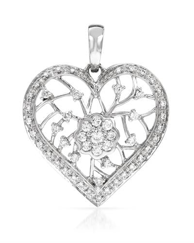 Brand New Pendant with 0.5ctw diamond 14K White gold
