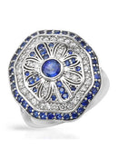 Brand New Ring with 2.74ctw of Precious Stones - diamond, sapphire, and sapphire 14K White gold