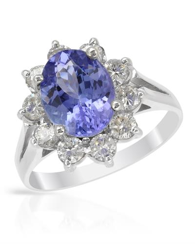 Brand New Ring with 2.65ctw of Precious Stones - diamond and tanzanite 14K White gold