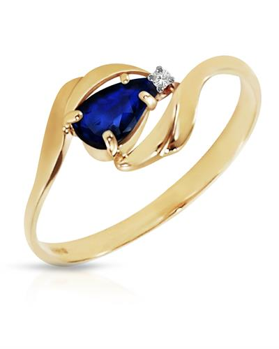Magnolia Brand New Ring with 0.51ctw of Precious Stones - diamond and sapphire 14K Yellow gold