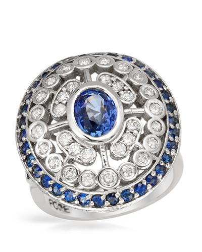 Brand New Ring with 2.5ctw of Precious Stones - diamond, sapphire, and sapphire 14K White gold