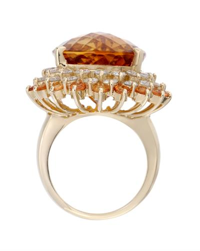 Lundstrom Brand New Ring with 37.26ctw of Precious Stones - citrine, diamond, and sapphire 14K Yellow gold
