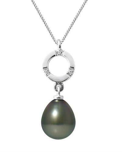Ateliers Saint Germain Brand New Necklace with 0.01ctw of Precious Stones - diamond and pearl 9K White gold