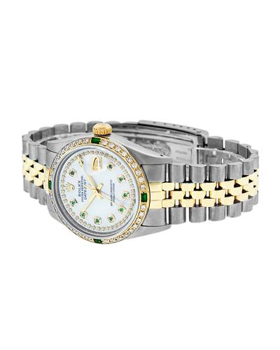 Rolex PreOwned Automatic date Watch with 1.25ctw of Precious Stones - diamond and emerald