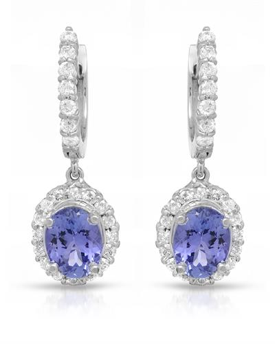 Lundstrom Brand New Earring with 3.25ctw of Precious Stones - diamond and tanzanite 14K White gold