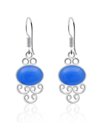 Brand New Earring with 8ctw chalcedony 925 Silver sterling silver