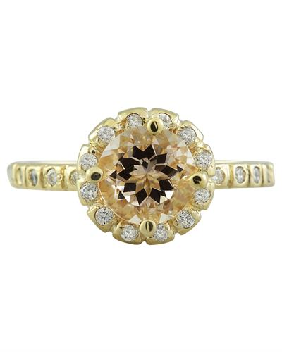 Brand New Ring with 1.24ctw of Precious Stones - diamond and morganite 14K Yellow gold