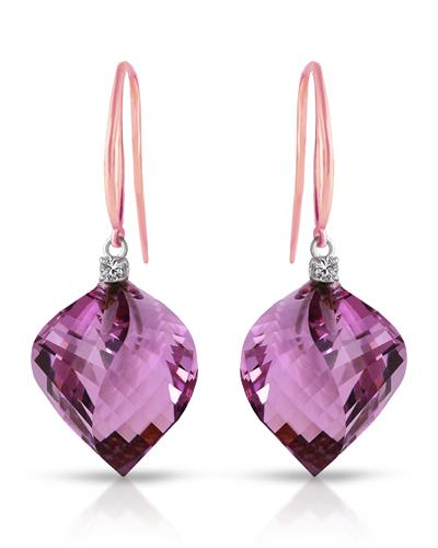 Magnolia Brand New Earring with 21.6ctw of Precious Stones - amethyst and diamond 14K Two tone gold