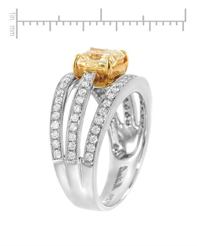 Brand New Ring with 1.83ctw of Precious Stones - diamond and diamond 18K Two tone gold