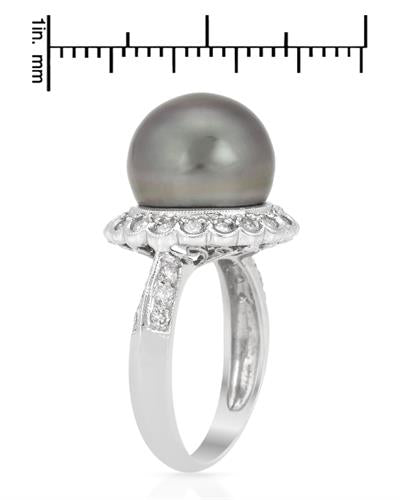 Brand New Ring with 0.52ctw of Precious Stones - diamond and pearl 14K White gold