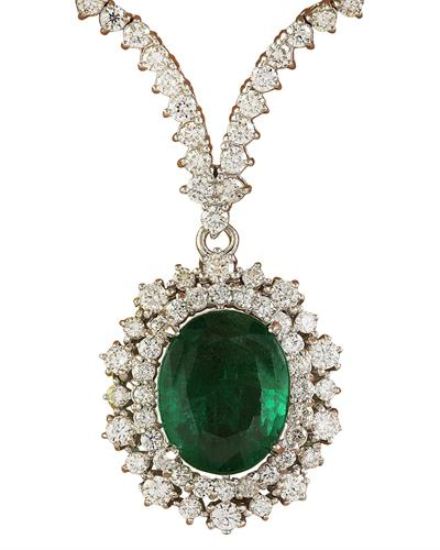 Brand New Necklace with 9.45ctw of Precious Stones - diamond and emerald 18K Yellow gold
