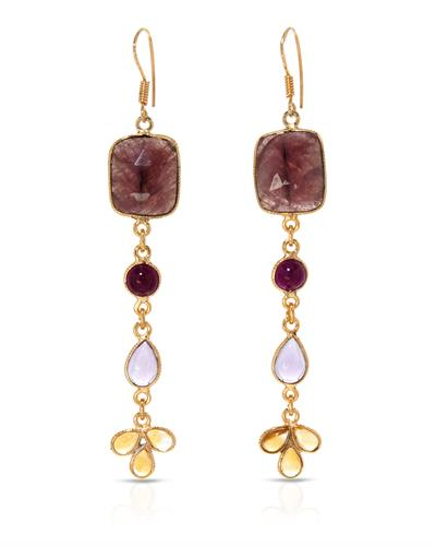 Brand New Earring with 28.24ctw of Precious Stones - amethyst, citrine, ruby, and sapphire 10K/925 Yellow Gold plated Silver