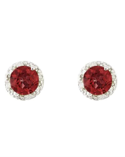 Brand New Earring with 2.02ctw of Precious Stones - diamond and garnet 925 Silver sterling silver