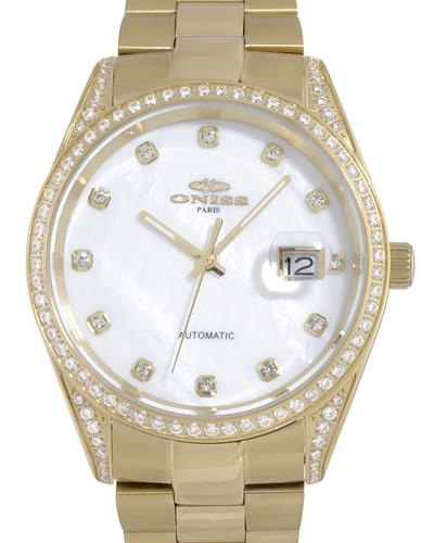 Oniss ON3883-GWT PARIS Brand New Automatic date Watch with 0ctw of Precious Stones - crystal and mother of pearl