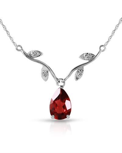 Magnolia Brand New Necklace with 1.52ctw of Precious Stones - diamond and garnet 14K White gold
