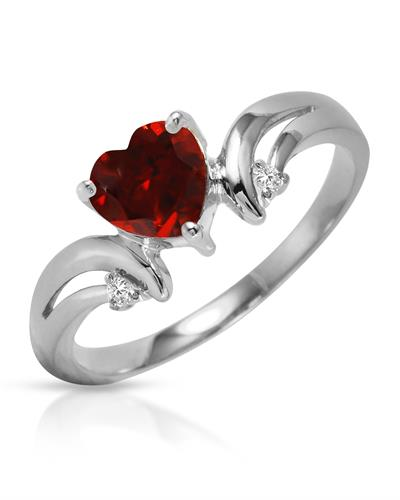 Magnolia Brand New Ring with 1.26ctw of Precious Stones - diamond and garnet 14K White gold