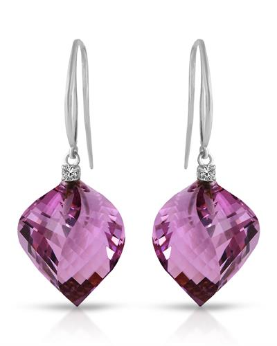 Magnolia Brand New Earring with 21.6ctw of Precious Stones - amethyst and diamond 14K White gold