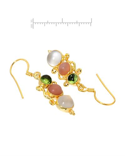 Brand New Earring with 6.19ctw of Precious Stones - moonstone and peridot 10K/925 Yellow Gold plated Silver
