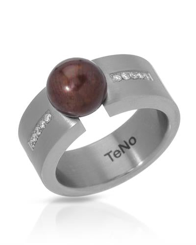 TeNo Brand New Ring with 0.08ctw of Precious Stones - diamond and pearl  Metallic Stainless steel