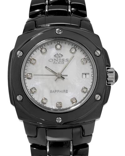 Oniss ON436-L PARIS Brand New Swiss Quartz date Watch with 0.11ctw of Precious Stones - diamond and mother of pearl