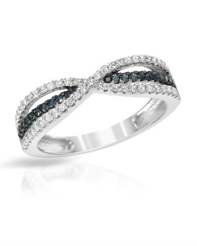 Lundstrom Brand New Ring with 0.39ctw of Precious Stones - diamond and diamond 10K White gold