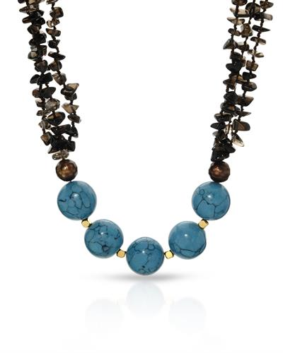 PEARL LUSTRE Brand New Necklace with 0ctw of Precious Stones - pearl, topaz, and turquoise  Yellow Gold Plated Base Metal
