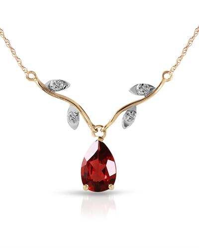 Magnolia Brand New Necklace with 1.52ctw of Precious Stones - diamond and garnet 14K Two tone gold