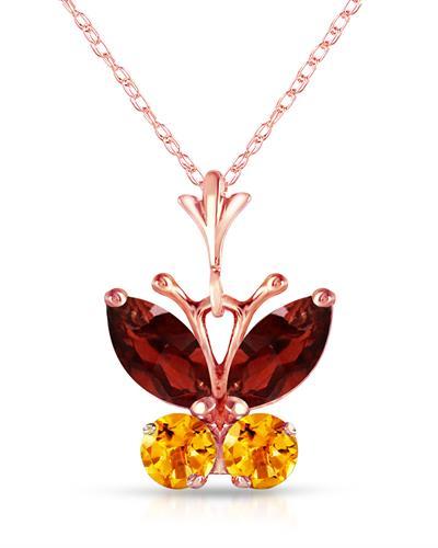 Magnolia Brand New Necklace with 0.6ctw of Precious Stones - citrine and garnet 14K Rose gold