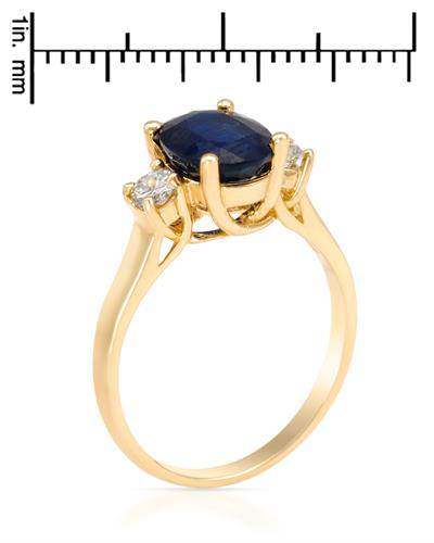 Brand New Ring with 2.35ctw of Precious Stones - diamond and sapphire 14K Yellow gold