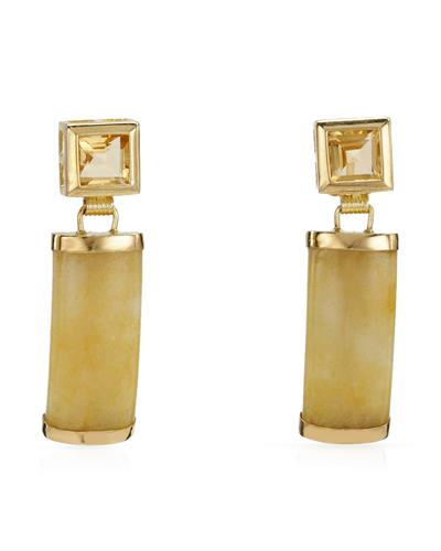Brand New Earring with 1.86ctw of Precious Stones - citrine and jade 14K Yellow gold