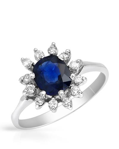 Brand New Ring with 1.8ctw of Precious Stones - diamond and sapphire 14K White gold
