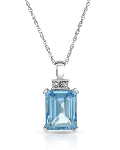Magnolia Brand New Necklace with 2.85ctw of Precious Stones - diamond and topaz 10K White gold