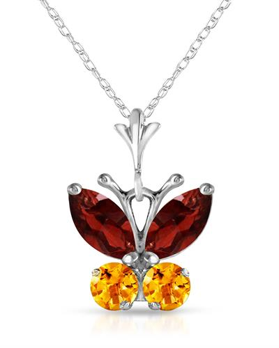 Magnolia Brand New Necklace with 0.6ctw of Precious Stones - citrine and garnet 14K White gold